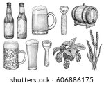 beer glass  bottle  cup  barrel ... | Shutterstock .eps vector #606886175