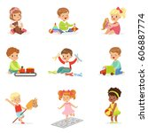 cute children playing with... | Shutterstock .eps vector #606887774