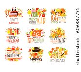 happy child holiday colorful... | Shutterstock .eps vector #606887795