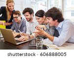 successful start up team with... | Shutterstock . vector #606888005