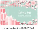horizontal template with pink... | Shutterstock .eps vector #606889061