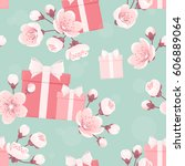 seamless pattern with pink gift ... | Shutterstock .eps vector #606889064