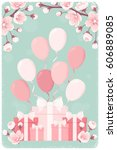 vertical template with pink... | Shutterstock .eps vector #606889085