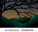 Curvy Creepy Tree at dusk with stars and hills vector - stock vector