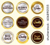 quality golden badge collection | Shutterstock .eps vector #606890555