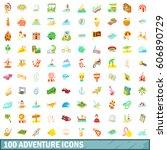100 adventure icons set in... | Shutterstock .eps vector #606890729