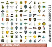 100 army icons set in flat... | Shutterstock .eps vector #606890735