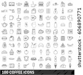 100 coffee set in outline style ... | Shutterstock .eps vector #606890771