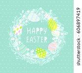 easter eggs in a wicker nest ... | Shutterstock .eps vector #606897419