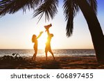 happy family with little... | Shutterstock . vector #606897455