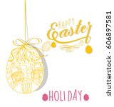 happy easter | Shutterstock .eps vector #606897581
