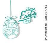 happy easter | Shutterstock .eps vector #606897761