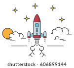 flat design of rocket launch.... | Shutterstock .eps vector #606899144