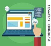 website builder conceptual... | Shutterstock .eps vector #606899381