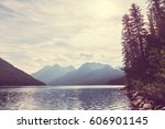 beautiful bowman lake with...   Shutterstock . vector #606901145
