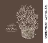 background with arugula  bunch... | Shutterstock .eps vector #606903521