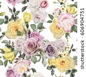 seamless floral pattern with... | Shutterstock . vector #606904751