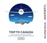 travel to canada. america.... | Shutterstock .eps vector #606908951