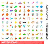 100 toys icons set in cartoon... | Shutterstock .eps vector #606909899