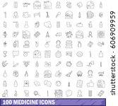 100 medicine icons set in... | Shutterstock .eps vector #606909959