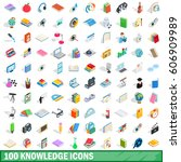 100 knowledge icons set in... | Shutterstock .eps vector #606909989