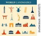 famous monuments and landmarks... | Shutterstock .eps vector #606910271