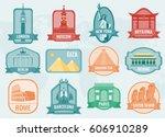 famous monuments and landmarks... | Shutterstock .eps vector #606910289