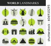 famous monuments and landmarks... | Shutterstock .eps vector #606910295