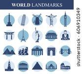 famous monuments and landmarks... | Shutterstock .eps vector #606910349