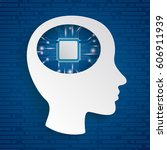 infographic with cyborg head on ... | Shutterstock .eps vector #606911939