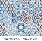 a rich set of hexagonal ceramic ... | Shutterstock .eps vector #606911981