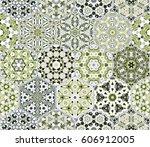 a rich set of hexagonal ceramic ... | Shutterstock .eps vector #606912005