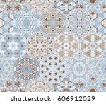 a rich set of hexagonal ceramic ... | Shutterstock .eps vector #606912029