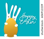 easter greeting card template... | Shutterstock .eps vector #606912239