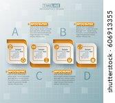 vector abstract 3d paper... | Shutterstock .eps vector #606913355