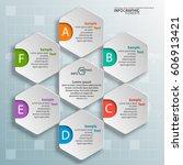 vector abstract 3d paper... | Shutterstock .eps vector #606913421