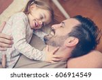 father with his daughter... | Shutterstock . vector #606914549