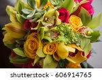 colorful bridal bouquet....   Shutterstock . vector #606914765