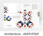 memphis geometric background... | Shutterstock .eps vector #606915569