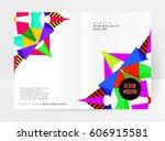 memphis geometric background... | Shutterstock .eps vector #606915581