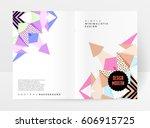 memphis geometric background... | Shutterstock .eps vector #606915725