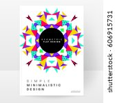 memphis geometric background... | Shutterstock .eps vector #606915731