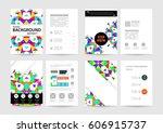 memphis geometric background... | Shutterstock .eps vector #606915737