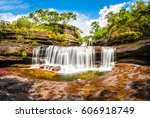 multicolored waterfall river in ... | Shutterstock . vector #606918749