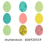 vector easter eggs with floral... | Shutterstock .eps vector #606920519