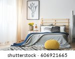 trendy bedroom interior with... | Shutterstock . vector #606921665