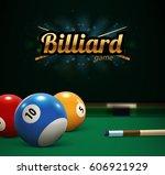 billiard table front view balls ... | Shutterstock .eps vector #606921929