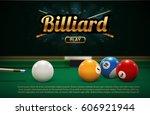 billiard table front view balls ...   Shutterstock .eps vector #606921944
