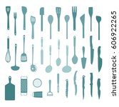 set of various kitchen tools  ... | Shutterstock .eps vector #606922265