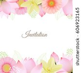 invitation with flower  vector... | Shutterstock .eps vector #606923165